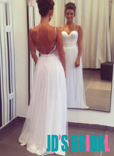 JOL113 sexy backless flowy tulle floor length wedding dress