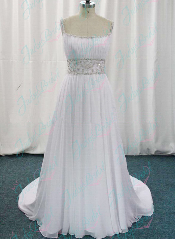 JW11059 Inspired romantic spaghetti straps flowy chiffon wedding dress
