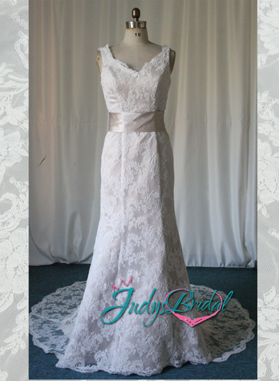 JW11085 Elegant v neck lace over modified a line wedding dress