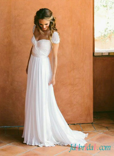 H1543 Fairy light ethereal flowy chiffon cap sleeved wedding dress