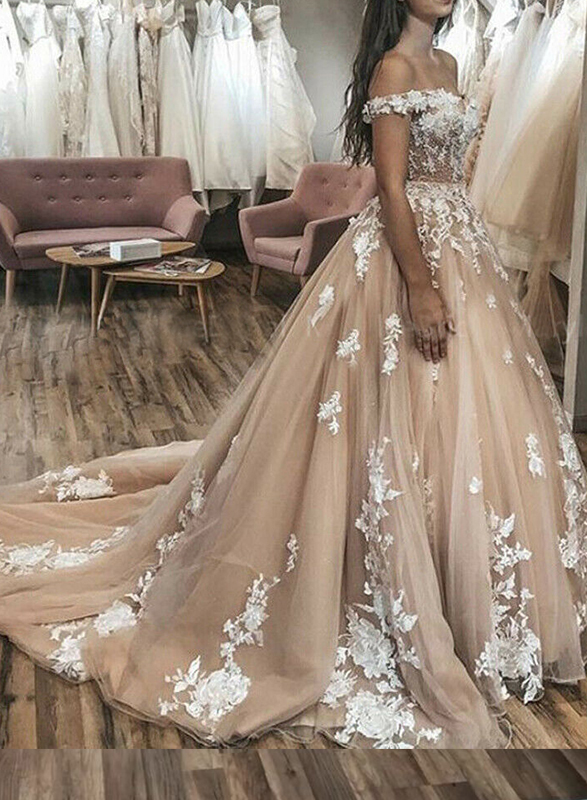 H0439 Beautiful off-the-shoulder nude color princess wedding dress