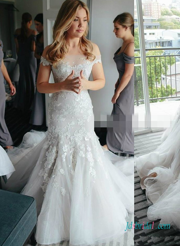 H0443 Ivory and champange lace mermaid wedding dress
