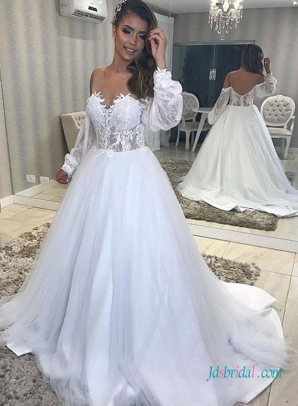 H0445 Sheer top long-sleeved tulle princess wedding dress